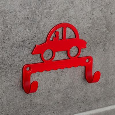 Крючок детский «Машинка», цвет красный - Фото 1