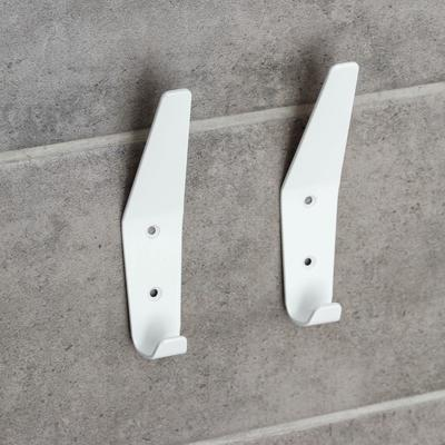 Набор крючков, 2 шт, металл, цвет белый - Фото 1