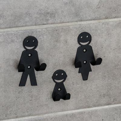 Набор крючков «Семья», 3 шт, металл, цвет чёрный