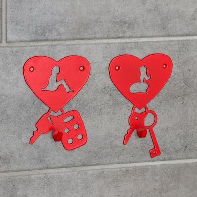 Набор крючков «Возлюбленые», 2 шт, металл, цвет красный - Фото 1