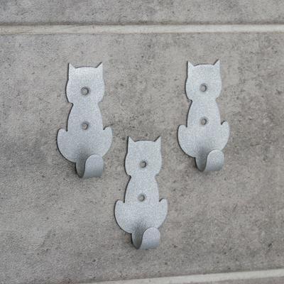 Набор крючков «Кошки», 3 шт, металл, цвет серый - Фото 1