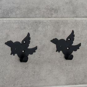 Набор крючков «Птички», 2 шт, металл, цвет чёрный