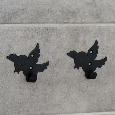 Набор крючков «Птички», 2 шт, металл, цвет чёрный - Фото 1