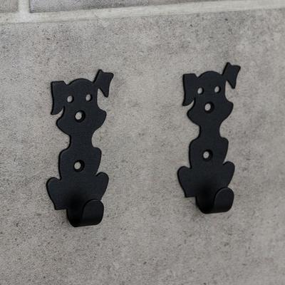Набор крючков «Собачки», 2 шт, металл, цвет чёрный