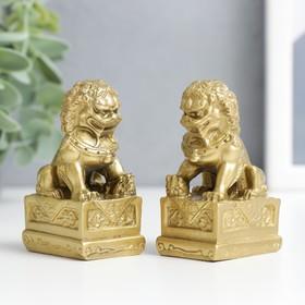 Нэцкэ под бронзу (набор 2шт) 'Собаки Фу' (китайские львы Будды) Ош
