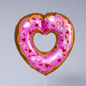 """Шар фольгированный 24"""" «Пончик-сердце», фигура"""