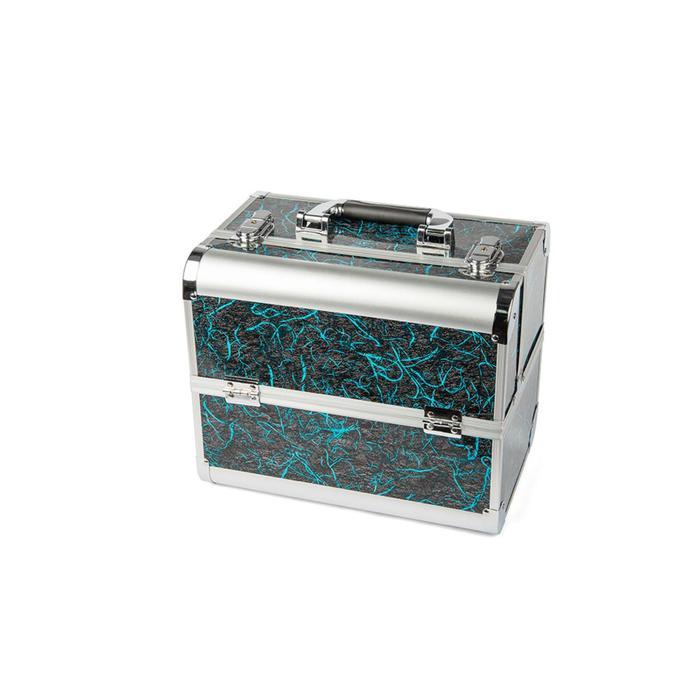 Кейс маникюриста, цвет серый с голубым узором, металл