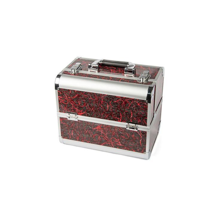 Кейс маникюриста, цвет серый с красным узором, металл
