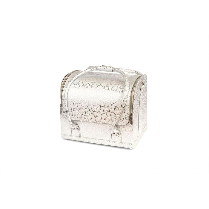 Кейс маникюриста, цвет серебряный, цветочный узор