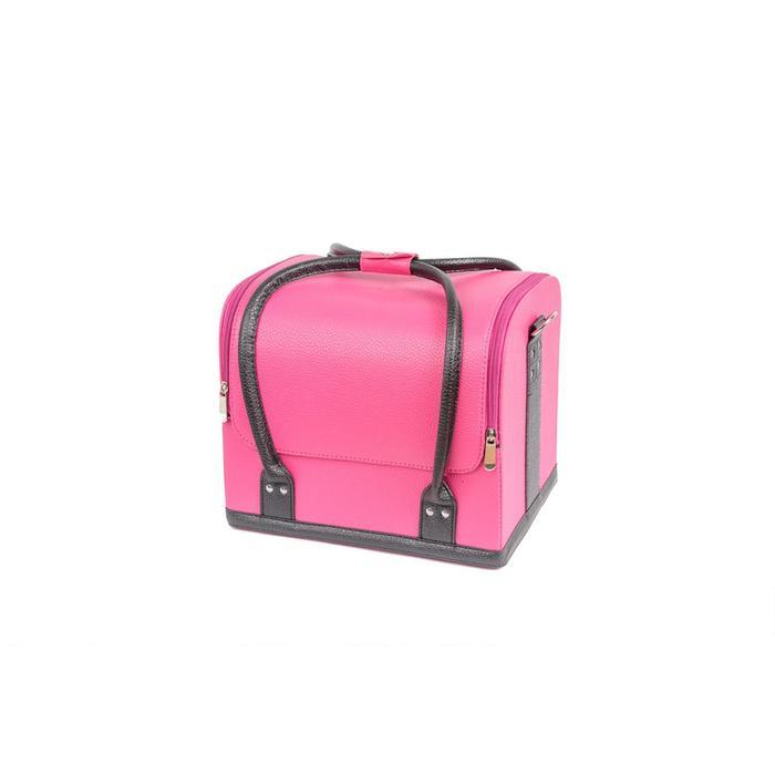 Кейс маникюриста, цвет розовый с черными ручками