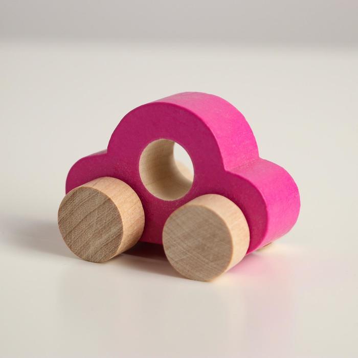 Деревянная игрушка Каталка Машинка Томик малиновая