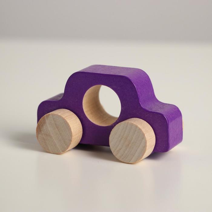 Деревянная игрушка Каталка Машинка Томик фиолетовая
