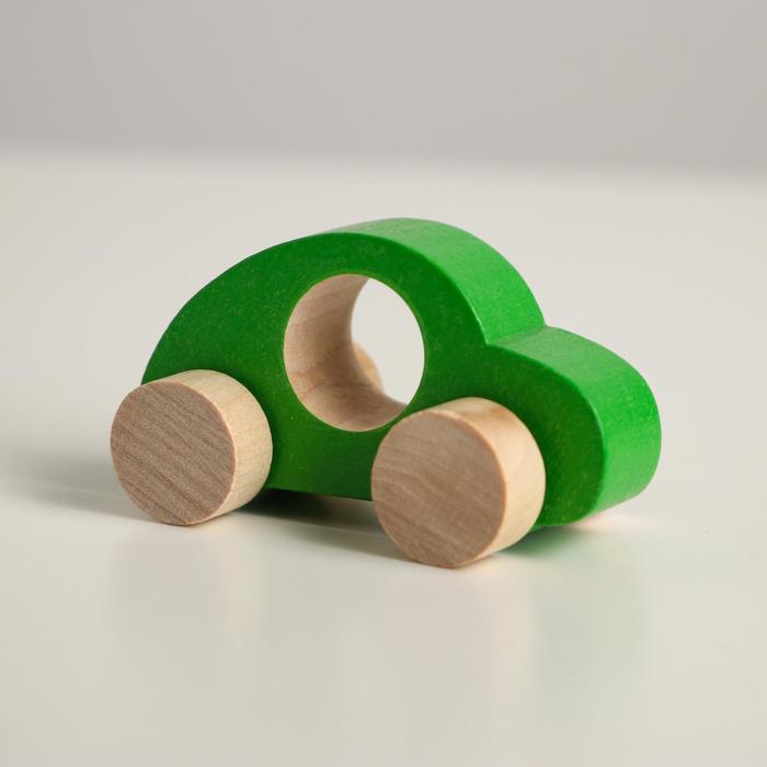 Деревянная игрушка Каталка Машинка Томик зелёная