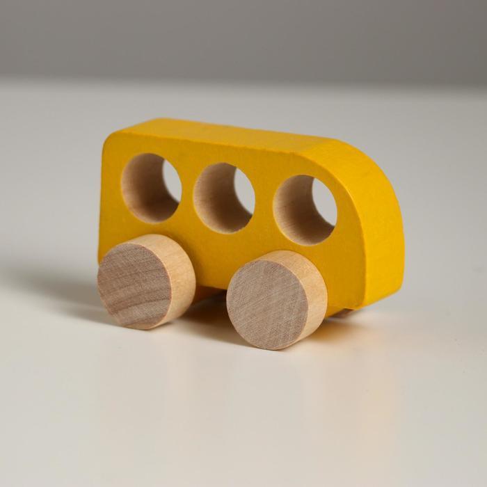 Деревянная игрушка Каталка Машинка Томик жёлтая