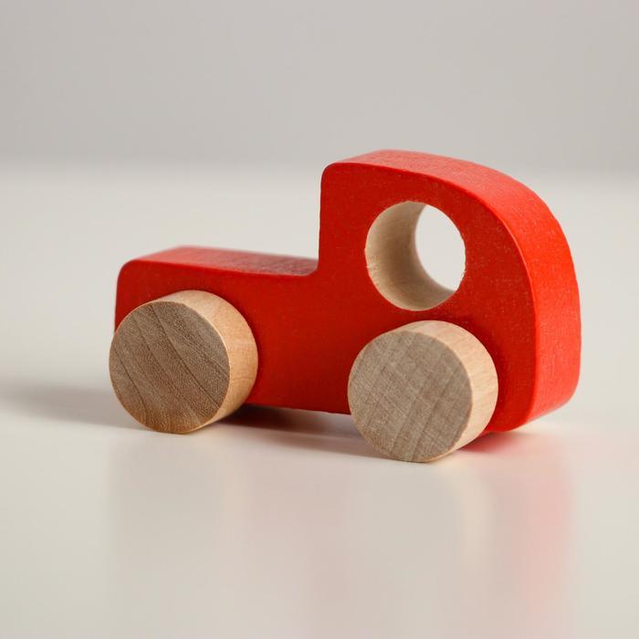 Деревянная игрушка Каталка Машинка Томик красная