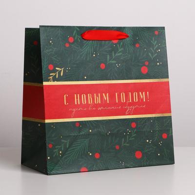 Пакет крафтовый квадратный «Пусть всё сбудется», 22 × 22 × 11 см - Фото 1