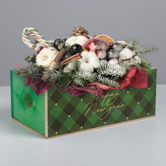 Деревянный ящик без ручки «Happy New Year», зелёный, 24.5 × 14.5 × 9 см