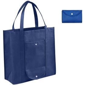 Складная Эко сумка-пакет для продуктов, многоразовая хозяйственная, темно-синяя