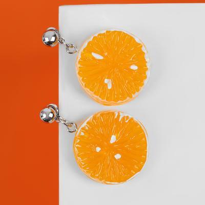"Серьги пластик ""Вкусности"" апельсинка, цвет жёлтый"