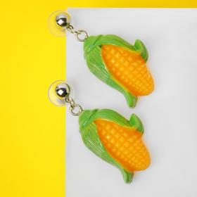 "Серьги пластик ""Вкусности"" кукуруза, цвет оранжево-зелёный"