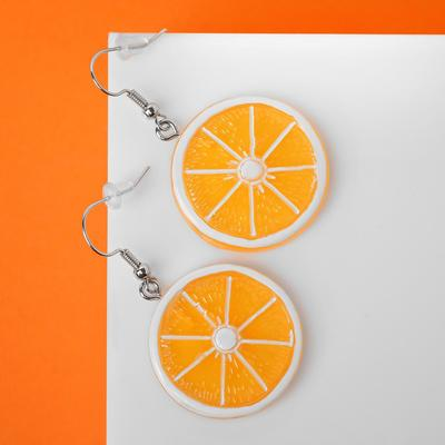 "Серьги пластик ""Вкусности"" апельсин, цвет жёлтый"
