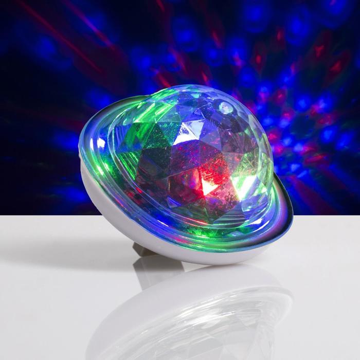 Световой прибор Мини диско шар, 6 см, USB, моргает, RGB