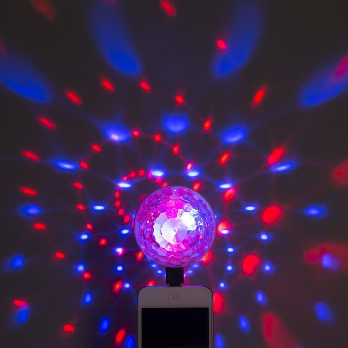 Световой прибор Двойной диско шар, USB, переходники в комплекте, RGB