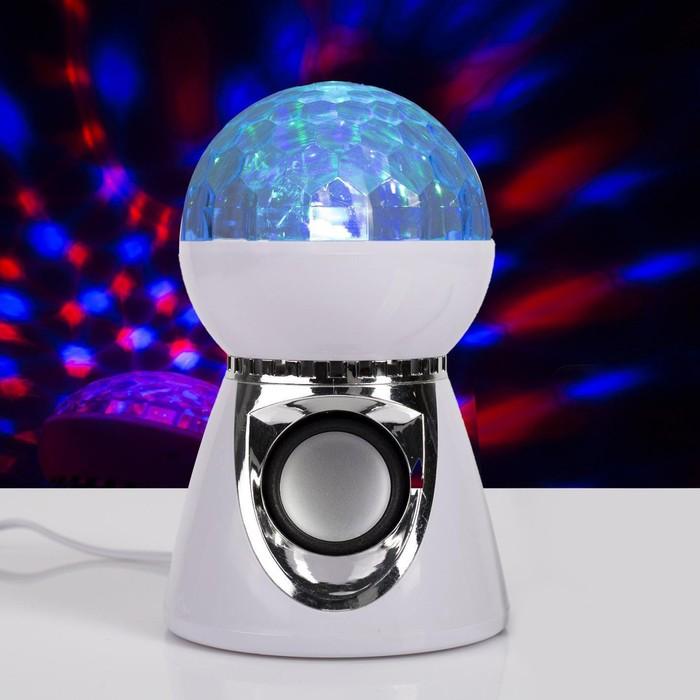 """Световой прибор """" Хрустальный шар"""", 19х11 см, Bluetooth-динамик, 220V, RGB"""