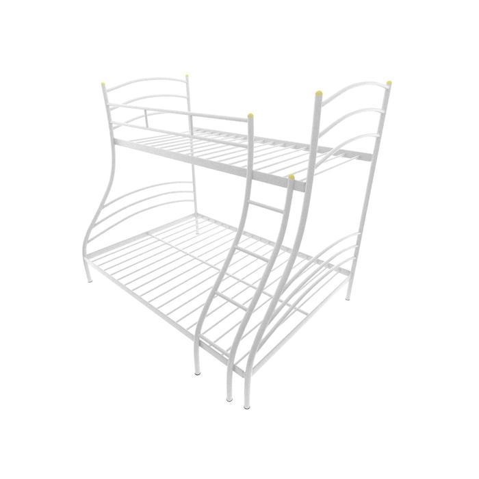 Двухъярусная кровать «Глория», 120 × 190 см, каркас металл, лестница справа, цвет белый