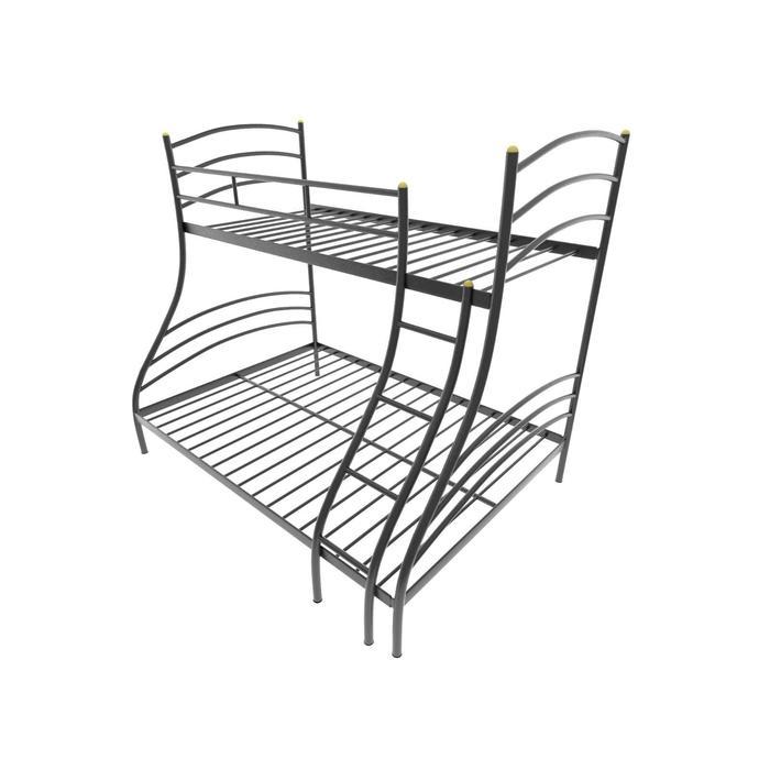 Двухъярусная кровать «Глория», 120 × 190 см, каркас металл, лестница справа, цвет чёрный