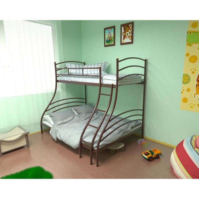Двухъярусная кровать «Глория», 120 × 190 см, металл, лестница справа, цвет коричневый