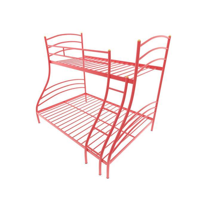 Двухъярусная кровать «Глория», 120 × 190 см, каркас металл, лестница справа, цвет красный