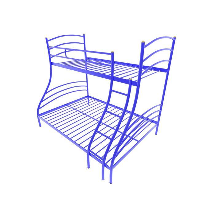 Двухъярусная кровать «Глория», 120 × 190 см, каркас металл, лестница справа, цвет синий