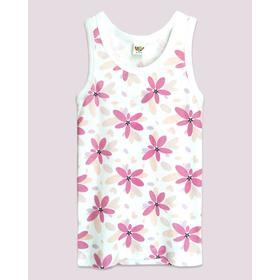 Майка для девочек, рост 122-128 см, цвет белый, розовый