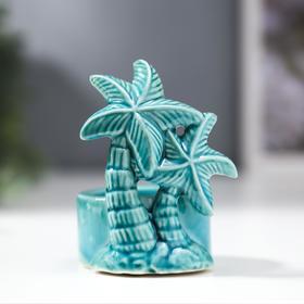 "Подсвечник керамика 1 свеча ""Пальма"" голубой 9,4х7х6,3 см"