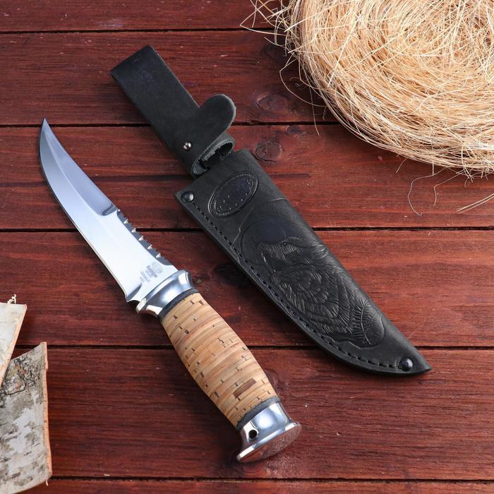 Нож охотничий «Морской патруль» Н69, ст. ЭИ-107, рукоять дюраль, береста, 28 см