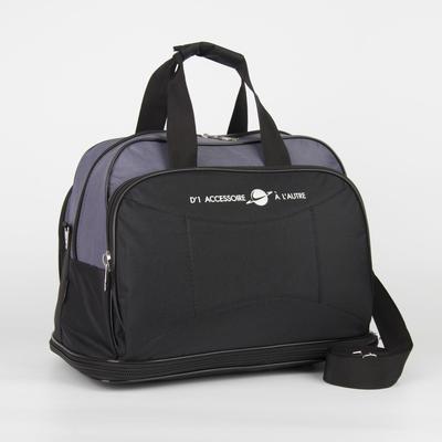 Сумка дорожная, отдел на молнии, с увеличением, 2 наружных кармана, длинный ремень, цвет чёрный - Фото 1