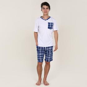 Костюм мужской (футболка, шорты) Oazis, цвет белый/синий клетка, размер 62 Ош