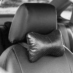 Подушка автомобильная косточка, на подголовник, экокожа перфорированная, черный 16х24 см Ош