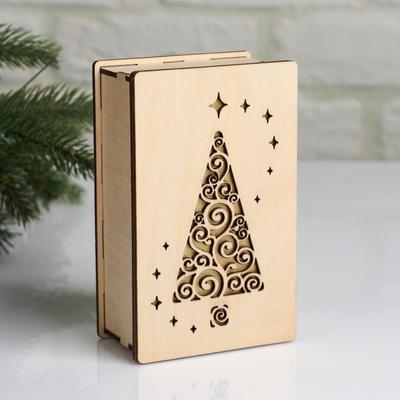 """Коробка деревянная, 15×9.5×5.5 см """"Новогодняя. Ёлочка"""", подарочная упаковка - Фото 1"""