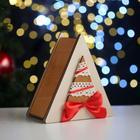 """Коробка деревянная, 14.5×13.5×6.5 см """"Новогодняя. Треугольник и ёлка"""", подарочная упаковка - Фото 1"""