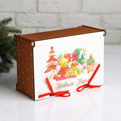 """Коробка деревянная, 26.5×17.5×12 см """"Новогодняя. Подарки в Новый год"""", подарочная упаковка - Фото 1"""