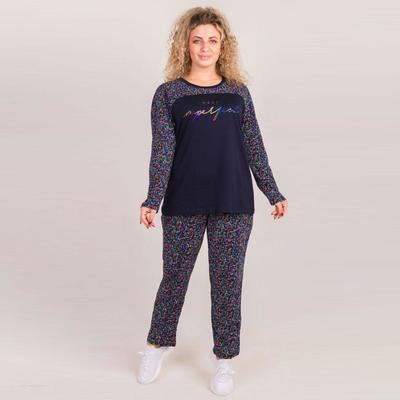 Комплект женский (лонгслив, брюки), цвет МИКС, размер 52