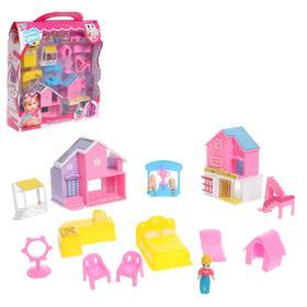 Пластиковый домик для кукол, с фигурками, с аксессуарами, МИКС