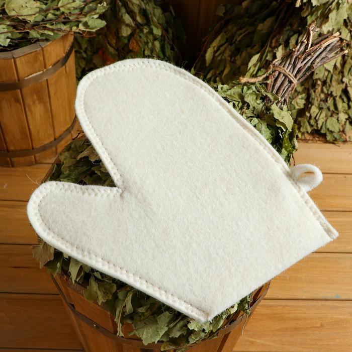 Варежка для бани и сауны, белая