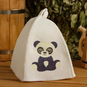 Шапка для бани и сауны детская 'Панда', с принтом, белая Ош