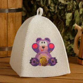 Шапка для бани и сауны детская 'Медвежонок', с принтом, белая Ош