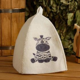 Шапка для бани и сауны детская 'Зебра', с принтом, белая Ош