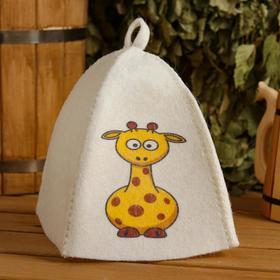 Шапка для бани и сауны детская 'Жираф', с принтом, белая Ош