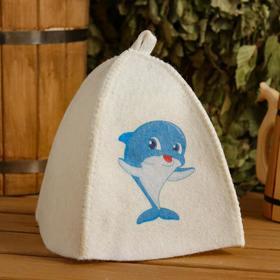 Шапка для бани и сауны детская 'Дельфин', с принтом, белая Ош